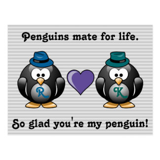 Adorable Gay Penguins Two Grooms Love Heart Hat Postcard