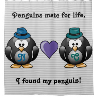 Adorable Gay Penguins Two Grooms Love Heart Hats Shower Curtain
