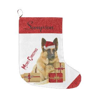 Adorable German Shepherd in Santa Hat Large Christmas Stocking
