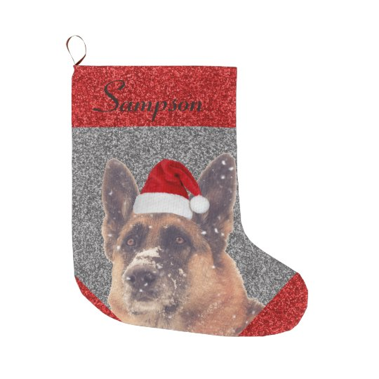 Adorable German Shepherd in Santa Hat Large Christmas