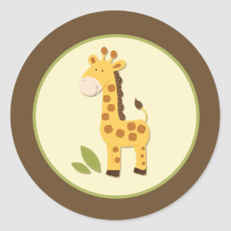 Adorable Giraffe Envelope Seals or Toppers Round Sticker