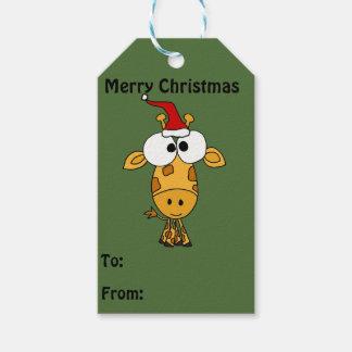 Adorable Giraffe in Santa Hat Christmas Gift Tags