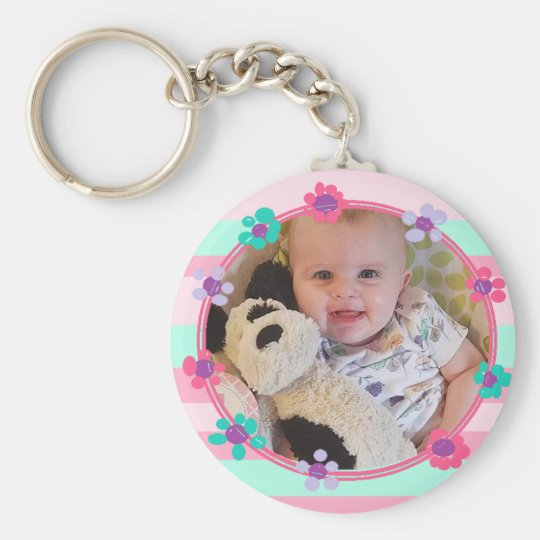 Adorable Girlie Personalised Baby Photo Key Chain