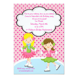Adorable Girls Ice Skating Birthday Invitation