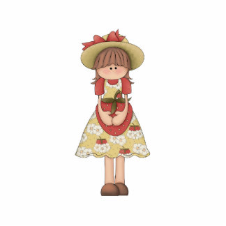 Adorable Girly Country Doll with Strawberry Acrylic Cut Outs