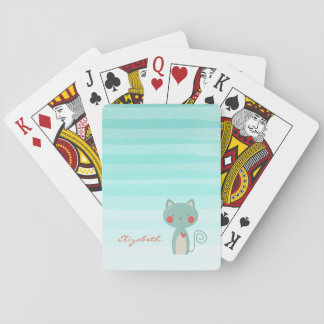 Adorable Girly Cute Cat,Stripes  -Personalized Playing Cards
