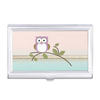 Adorable Girly Cute Owl Business Card Holder