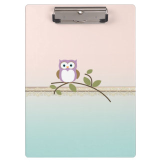 Adorable Girly Cute Owl Clipboard