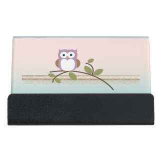 Adorable Girly Cute Owl Desk Business Card Holder