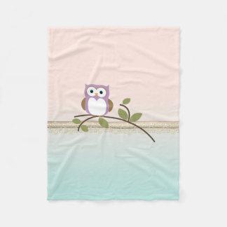 Adorable Girly Cute Owl Fleece Blanket