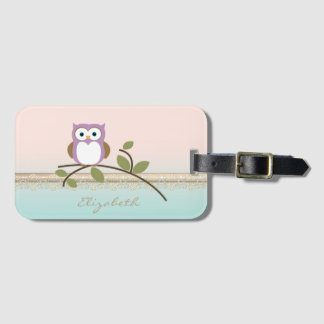 Adorable Girly Cute Owl Luggage Tag