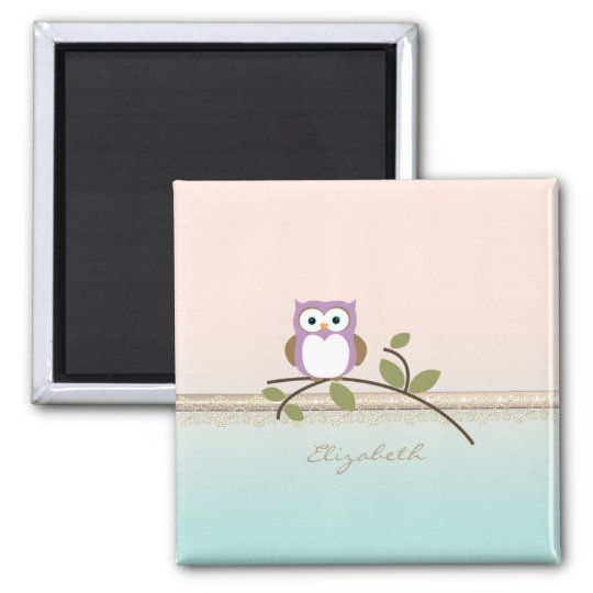 Adorable Girly Cute Owl,Personalised Magnet