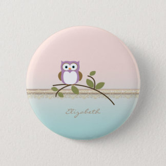 Adorable Girly Cute Owl,Personalized 6 Cm Round Badge