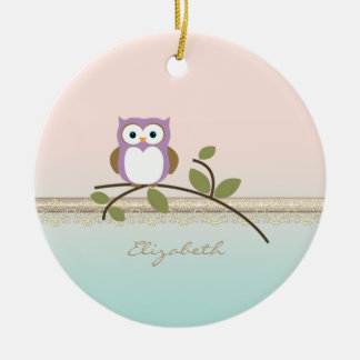 Adorable Girly Cute Owl,Personalized Christmas Ornament