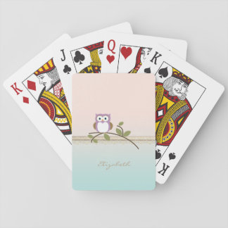 Adorable Girly Cute Owl,Personalized Playing Cards