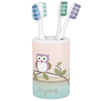 Adorable Girly Cute Owl Toothbrush Holders