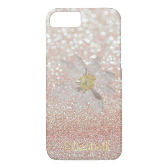 Adorable Girly,Daisy ,Glittery,Bokeh ,Personalised iPhone 8/7 Case