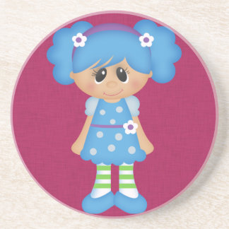 Adorable Girly Doll Drink Coasters