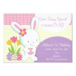 Adorable Girly Easter Bunny Birthday Invitation