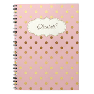 Adorable Gold Polka Dots,Personalized Notebook
