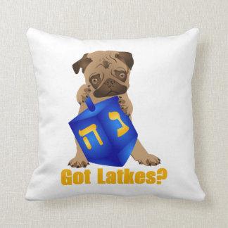 Adorable Got Latkes? Hankukkah Pug Puppy & Dreidel Cushion