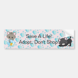 Adorable Gray Tabby Kitten with Fish Bowl Bumper Sticker