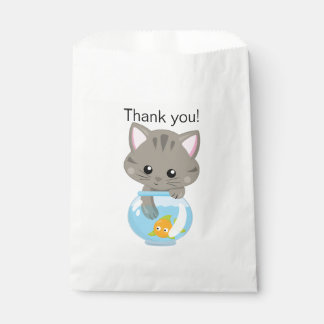 Adorable Gray Tabby Kitten with Fish Bowl Favour Bags