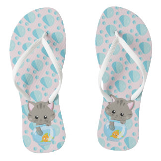 Adorable Gray Tabby Kitten with Fish Bowl Flip Flops