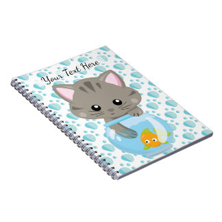 Adorable Gray Tabby Kitten with Fish Bowl Notebook