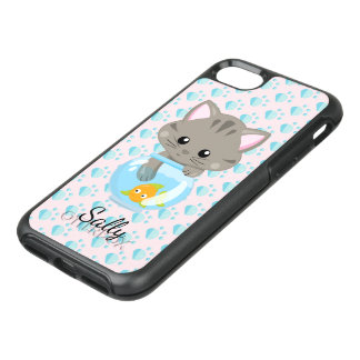 Adorable Gray Tabby Kitten with Fish Bowl OtterBox Symmetry iPhone 8/7 Case