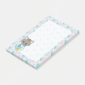 Adorable Gray Tabby Kitten with Fish Bowl Post-it Notes