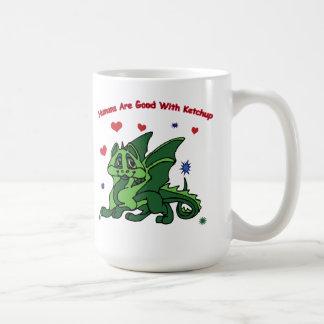 Adorable Green Dragon Humans Good With Ketchup Mug