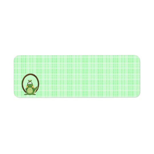 Adorable Green Dragon on Green Plaid Baby Shower