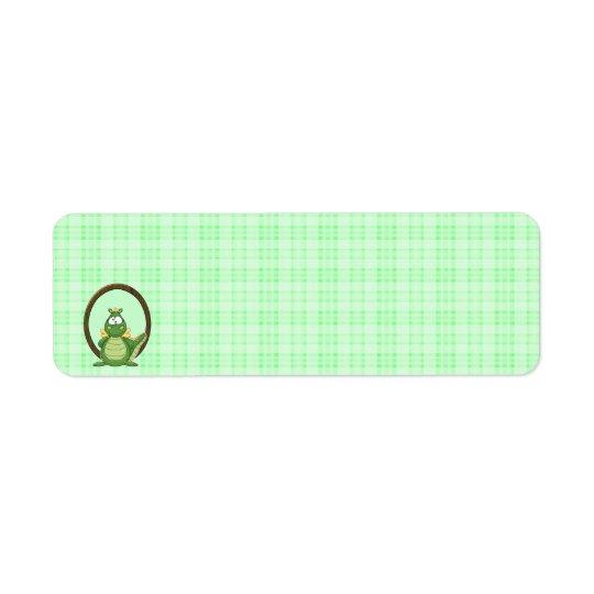Adorable Green Dragon on Green Plaid Baby Shower Return Address Label