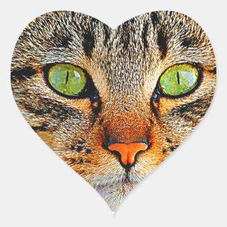 Adorable Green Eyed Cat Heart Sticker