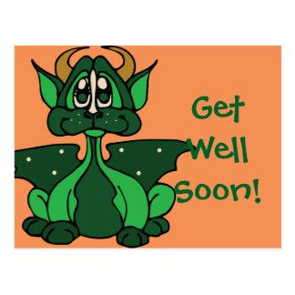 Adorable Green Little Baby Dragon Postcard