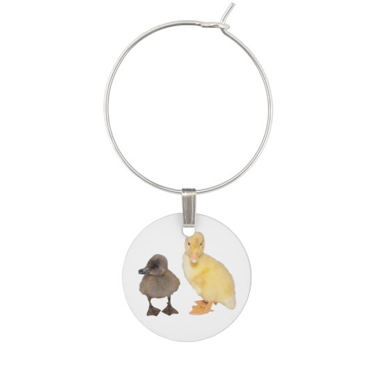 Adorable Grey and Yellow Ducklings Photograph Wine Charm