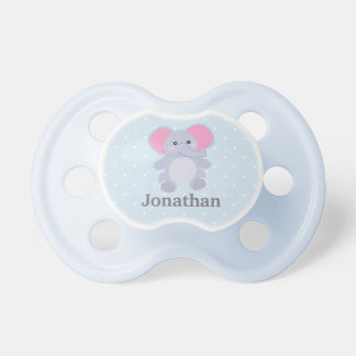 Adorable Grey Elephant Baby Blue white polkadots Dummy