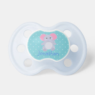 Adorable Grey Elephant Blue White Polkadots Boy Dummy
