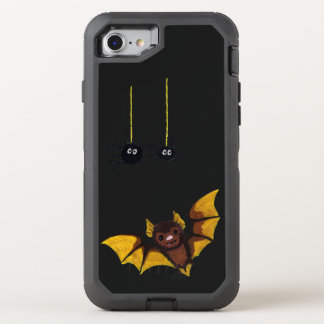 Adorable Halloween Brown Bat with 2 Fluffy Spiders OtterBox Defender iPhone 8/7 Case