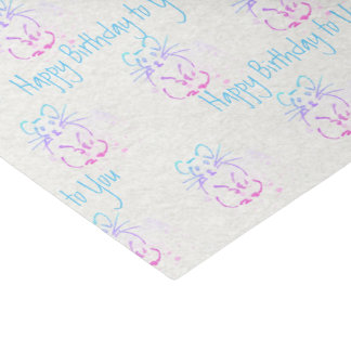 Adorable Hamsters Watercolor Motif: Custom Message Tissue Paper