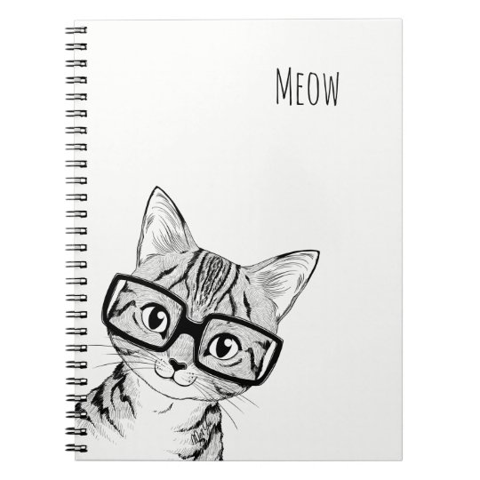 Adorable Hand Drawn Nerdy Cat Art Note Book