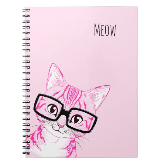 Adorable Hand Drawn Nerdy Cat Art Pink Note