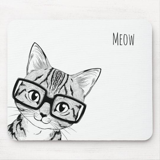 Adorable Hand Drawn Nerdy Cat Art White Mouse