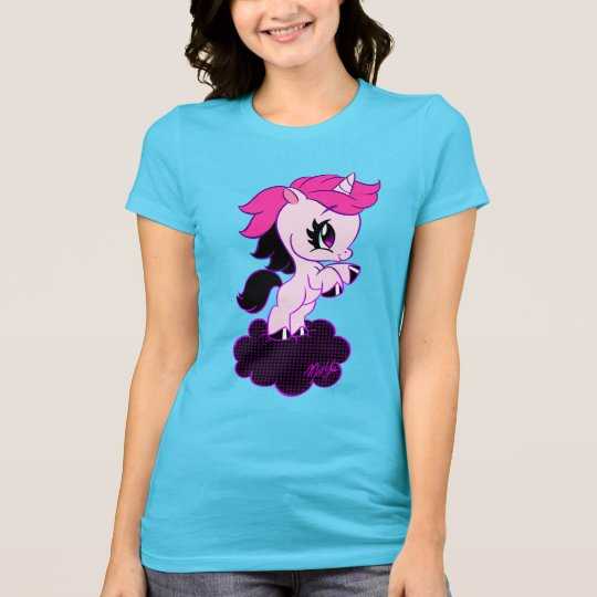 Adorable Hand Drawn Unicorn Women's Fitted Shirt