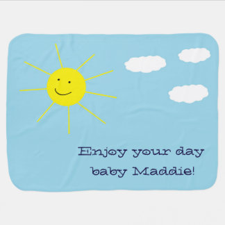 Adorable Happy Smiley Sunny Day Personalized Baby Blanket
