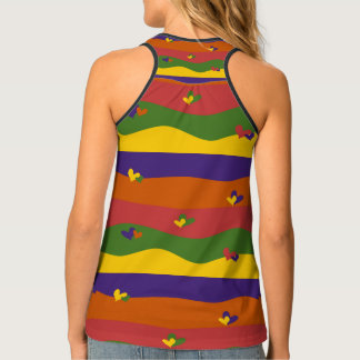 Adorable Hearts and Stripes Design Tank Top