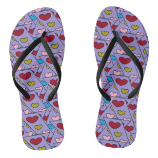 Adorable Hearts Design Purple Flip Flops for Her