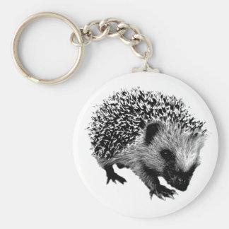 Adorable Hedgehog. Wildlife Digital Engraving Basic Round Button Key Ring