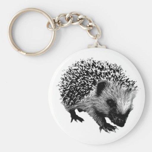 Adorable Hedgehog. Wildlife Digital Engraving Key Chains